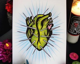 CORAZON de NOPAL //  8x10 Cactus Anatomical Heart print