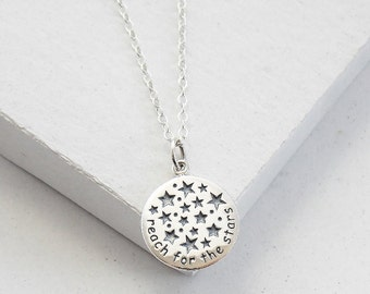 Reach for the Stars Necklace | Graduation Gift | Inspirational Jewelry | Medallion Necklace | Sterling Silver