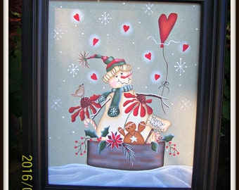 Primitive Snowman 8 x 10 Framed Canvas-Flowers-Hearts-Gingerbread Home Decor Picture