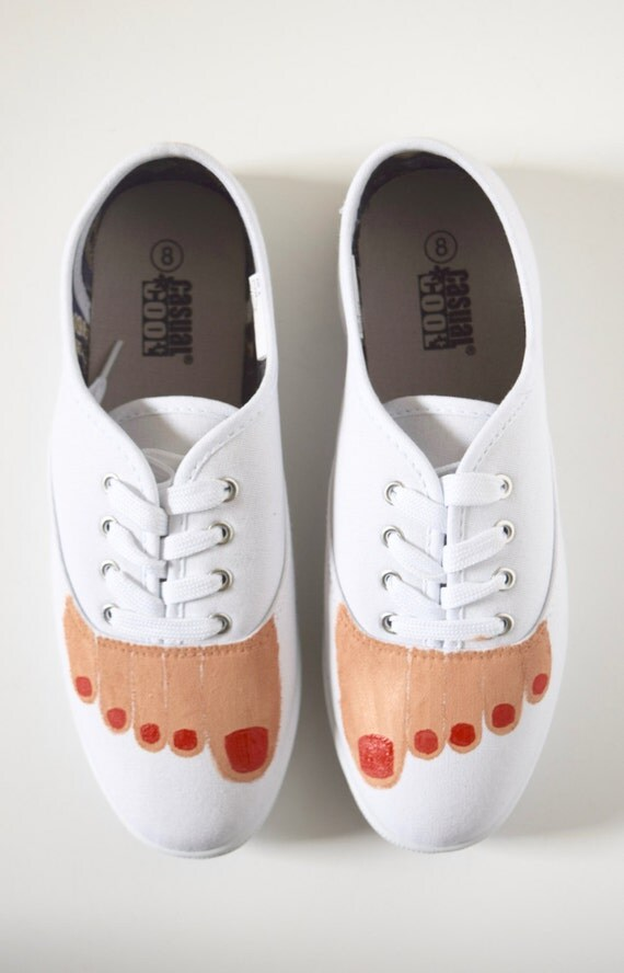 Hand Painted Bare Feet Lace Up Sneakers in White Canvas (size 8)