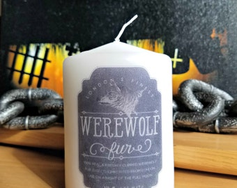 Werewolf Fur Apothecary Bottle Label 2x3 Pillar Candle