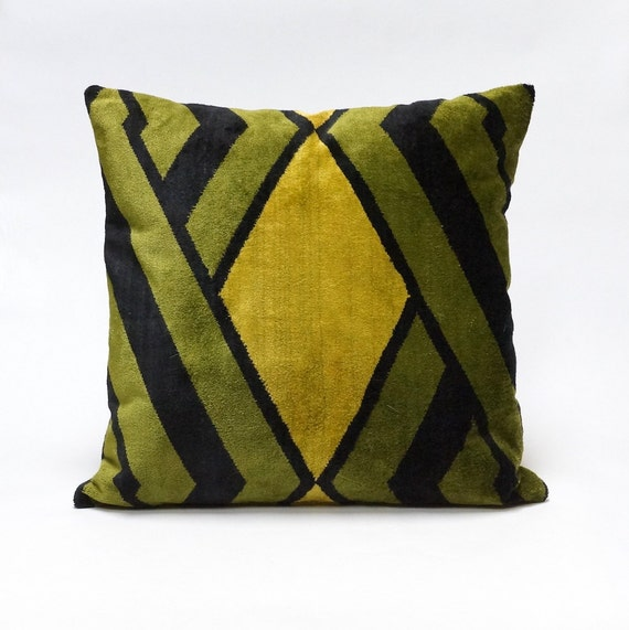 Modern Green Pillow : Green Mid Century Modern velvet pillow 18x18 graphic decor