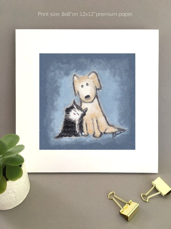 Me and My Shadow, dog and cat friends, yellow lab and black cat tuxedo cat, best friends illustration, Unique artwork, Giclée print