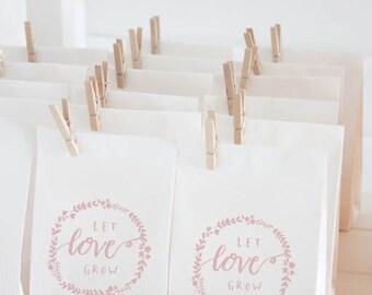Let love grow rubber stamp DIY wedding favor bags Calligraphy art stamp Flower Wreath stamp