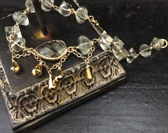 gold bracelet yoga jewelry boho style prasiolite and pyrite