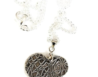 Love abstract design heart pendant and necklace chain 44cm