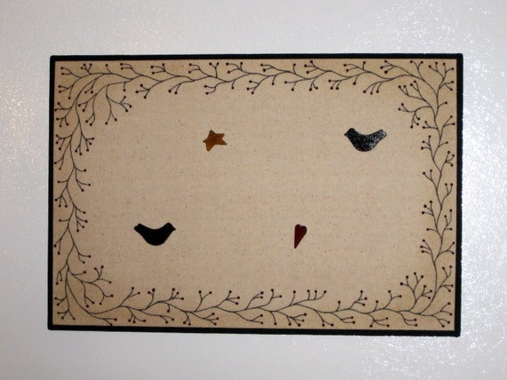 Primitive Bulletin Board, Vine Memo Board, Primitive Decor, Crow Push Pins, Raven Push Pins, Primitive Heart, Primitive Star, Free Shipping