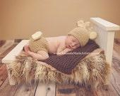 Baby Deer Outfit - Crochet Deer Set - Deer Hat - Baby animal hat - newborn photo prop - character hat - crochet baby outfit - Costume