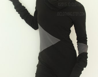 tunic dress| cowl neckline| extra long sleeves| geometric colorblock design| Black with Cement Grey| womens handmade by joclothing