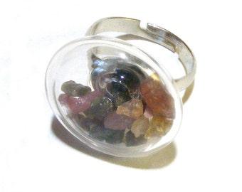 Genuine TOURMALINE Chips Silver Adjustable RING Nc2236 Blown Glass Vial on ring, Dream, Wish, gemstone, magic, Womens jewelry  by Lynn