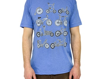 Bike shirt Bicycle tee cycle t-shirt mens tee blue tricycle unicycle mountain bike road bike vermont made