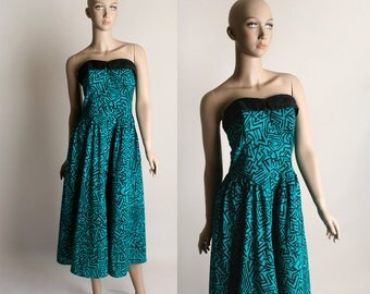Vintage Rockabilly Dress - Strapless 1980s does 1950s Style Wild Print Teal Cotton Dress - Large