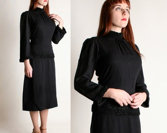 Vintage 1930s Dress - Black Crepe Braided Gothic Dress - Medium