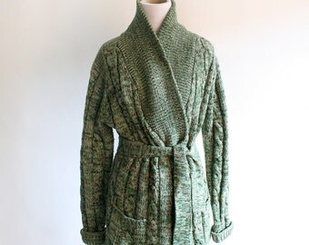 Vintage 1970s Wrap Sweater - Cable Knit Thick Mint Green Sweater