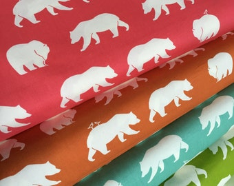 Organic fabric, Bear Camp fabric bundle by Birch Fabrics, Animal fabric, Bundle of 4- You Choose the Cut, Free Shipping Available