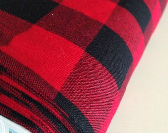"Plaid Fabric, Apparel Fabric, DIY Plaid Scarf fabric, Carolina Gingham, Red fabric , Buffalo Plaid, Plaid Scarf Fabric, 1"" Gingham, SALE"