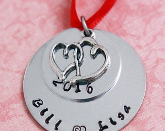 Hand Stamped Couples Christmas Ornament