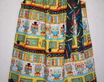 Pillowcase Dress with Owl Dress for School Dress with Crayons Wise Owls Girls Dress toddler dress Back to School Kindergarten Dress Alphabet