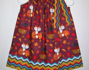 Pillowcase Dress Fall Dress with Fox Dresses with Pumpkins Forest Animals Birthday Woodland Animals Autumn Dresses Girls Dresses for Fall