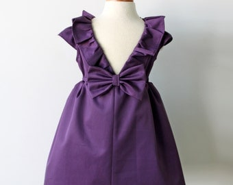 Eggplant Purple Dress, Toddler & Girl, Holiday, Flower Girl