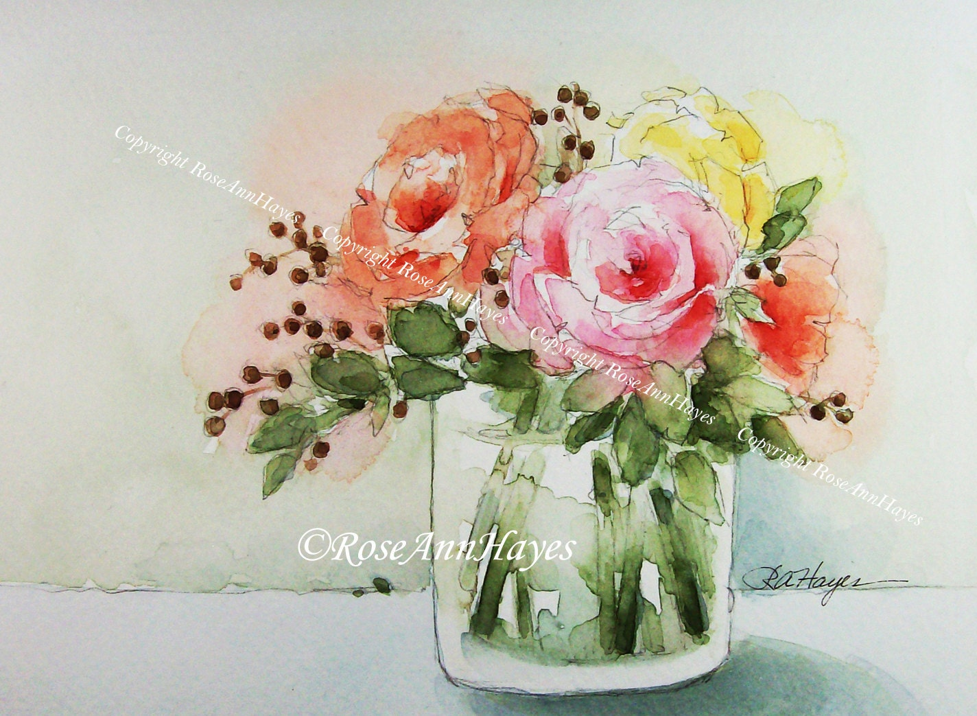 Bouquet Of Roses Watercolor Painting Print Flowers Floral