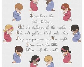 Jesus Loves the Little Children - Cross Stitch PDF Pattern - INSTANT DOWNLOAD