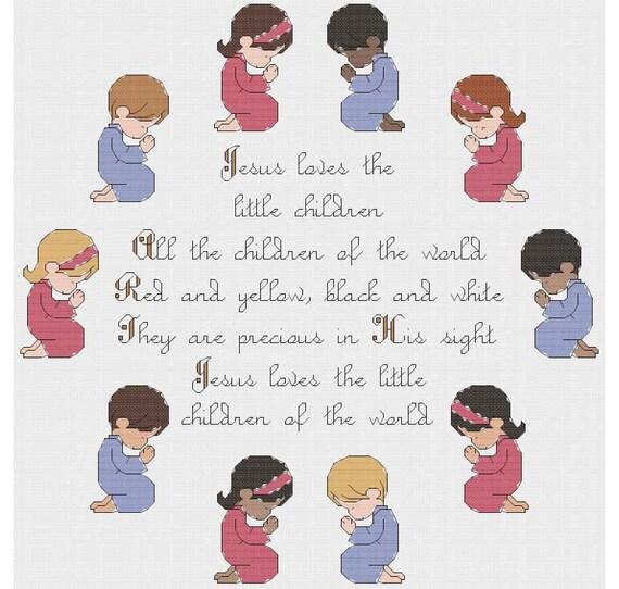 Jesus Loves The Little Children Cross Stitch PDF Pattern