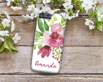 iPhone 7 Personalized Case  - Plum floral watercolor  - other models available