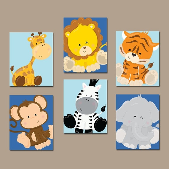Safari Nursery Decor Jungle Theme Nursery Nursery Artwork: Safari ANIMALS Wall Art Jungle Animals Zoo Animal Theme