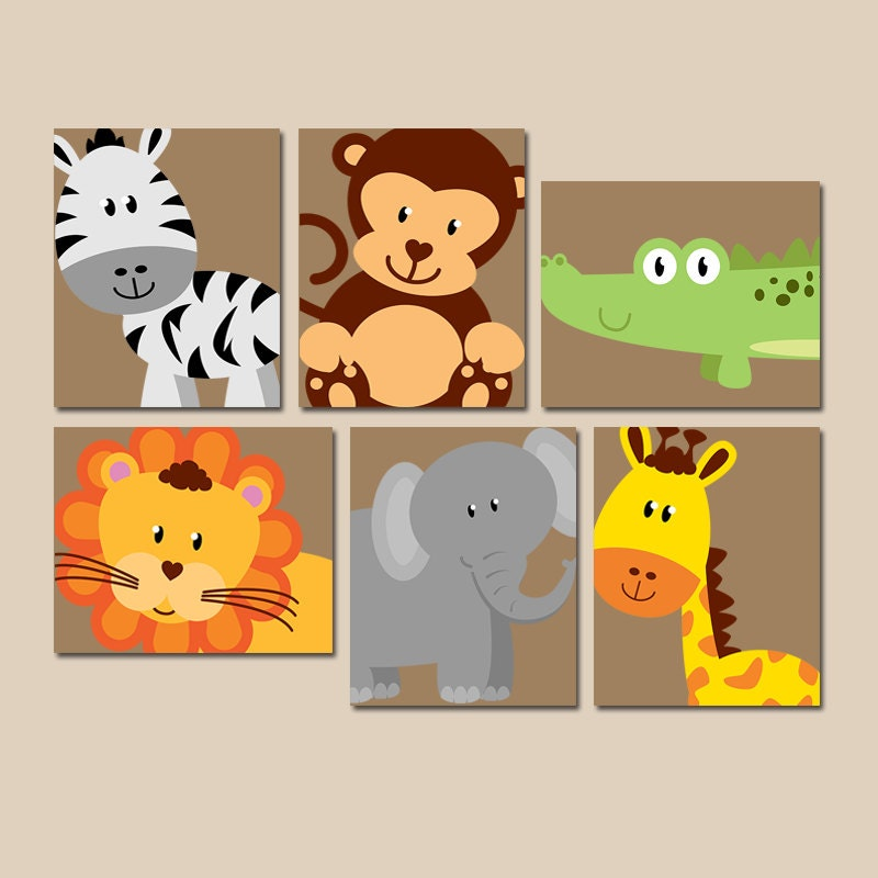 safari animal wall art animal nursery artwork zoo jungle. Black Bedroom Furniture Sets. Home Design Ideas