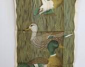 vintage tea towel - Fallani and Cohn - All Linen - Kitchen Hand Towel - Mallard - Ducks - Birds