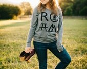 ROAM women's top - slouchy raglan pullover - long sleeved tshirt - camping and hiking print - black and heather gray - fall fashion