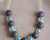 Mid-length Lava Necklace with Turquesite by Catherine Nicole