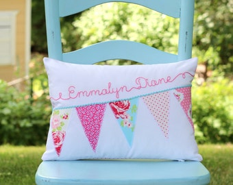 Shabby Chic Pillow, Personalized Pillow Cover, Pastel Nursery Pillow Cover, Crib Bedding Pillow, Bunting Pillow Cover, Name Pillow
