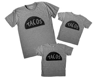 Father Child Taco Tuesday Shirts, 3 SHIRTS, matching family shirts, fathers day gift for dad and baby father son,daughter dad gift from kids