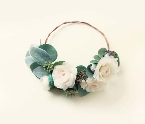 Leafy flower hair wreath, Green and ivory bridal crown, Peony circlet, Bridal hair wreath, Whimsical wedding accessory, Ivory rose crown