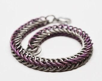 Anodized & plain titanium color split half persian chainmaille bracelet
