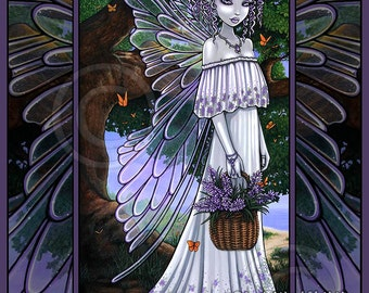 Spring Fairy Signed Print Woodland Nature Butterfly Lavender Fantasy Nevaeh