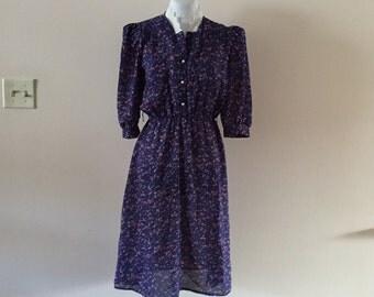 Vintage 1980s Dress Blue Floral Prairie style Sz S/M