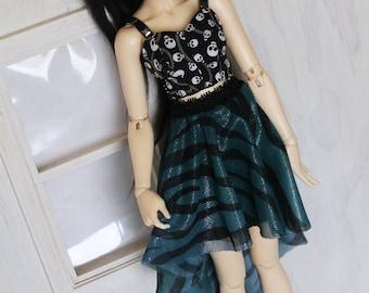Doll MSD Minifee BJD clothes Turquoise glitter hi-low skirt MonstroDesigns