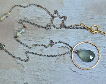 Moss Aquamarine Drop Necklace - 14kt Gold Circle Loop Necklace - Mixed Metal Necklace - Dainty Necklace - Oxidized Sterling Silver Necklace