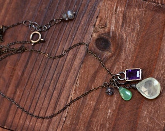 Purple Amethyst Bezel Necklace - Oxidized Sterling Silver Mixed Stone Pendant Necklace - Green Prehnite Necklace - Chrysoprase Necklace