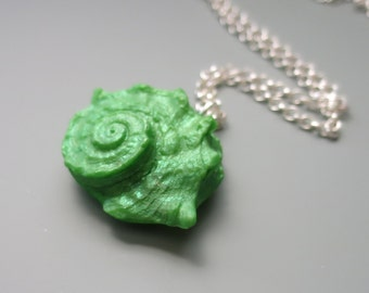 Seashell Pendant Necklace, Polymer Clay, Pearly Green