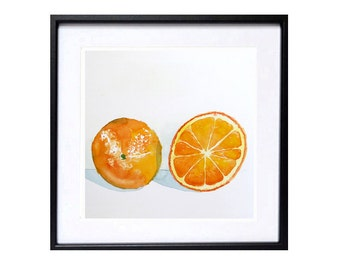 A Painting of Oranges Original watercolor painting watercolour Kitchen art kitchen decor Fruit Art Yellow Still Life Food Artwork 9x9 in