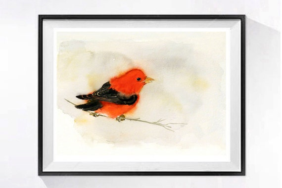 Art Print Bird Painting Artwork Small red watercolor Colorful red singing bird Scarlet Tanager wildlife painting animal art Nature painting