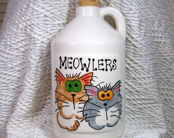 Meowler Goofy Cats Jug With Cork Top Handmade Pottery Clay Meowler by Gracie