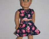 18 inch doll clothes, floral print skater/circle skirt and matching crop top, Upbeat Petites