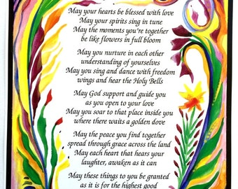 WEDDING PRAYER Marriage Poster Original Poetry Gift Inspirational Love Family Wall Decor Anniversary Gift Heartful Art by Raphaella Vaisseau