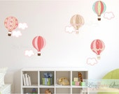 Hot Air Balloons Clouds Wall Decals  • Colorful Reusable Wall Stickers • Aqua Blue Green or Pink - Removable Eco Friendly Child Safe Nursery