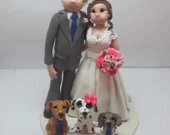 Bride and Groom with Pets Wedding Cake topper, Custom wedding cake topper, personalized cake topper, Mr and Mrs cake topper